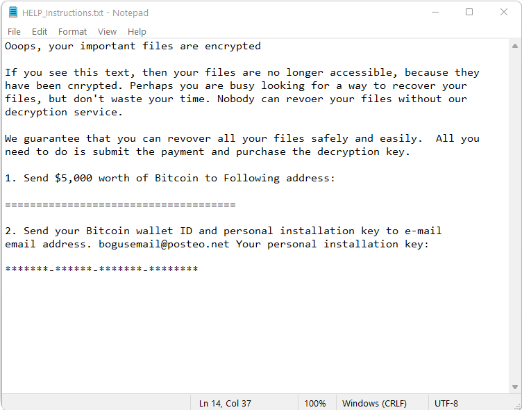 ransomware note